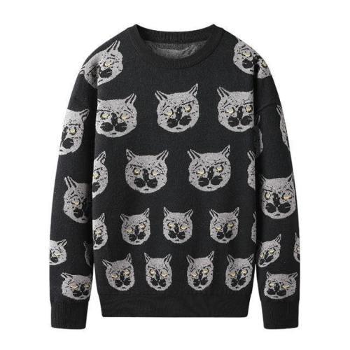 Cartoon Cat Mens Winter Warm Knitted Sweater