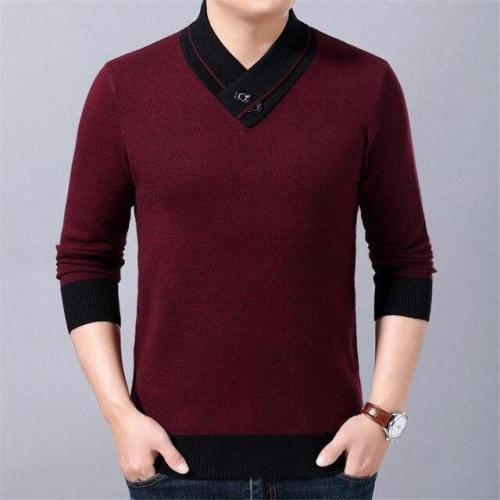 Mens Wool V Neck Casual Cashmere Knitwear