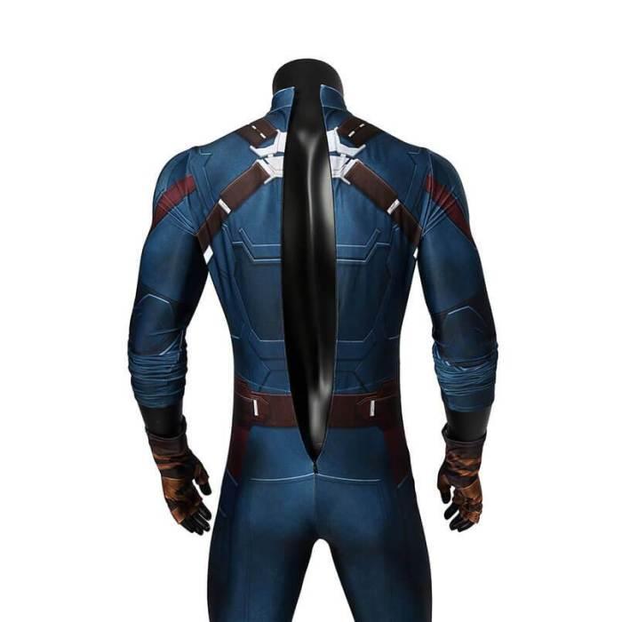 Infinity War Captain America Cosplay Costume Battle Jumpsuit Bodysuit
