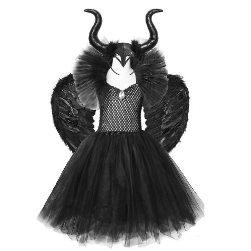 Solid Black Maleficent Halloween Costumes Kids Girls Tutu Dress Ankel Length Dresses Devil Costume Cosplay Outfits Horns Wings