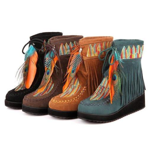 Native American Style Fringe Boots