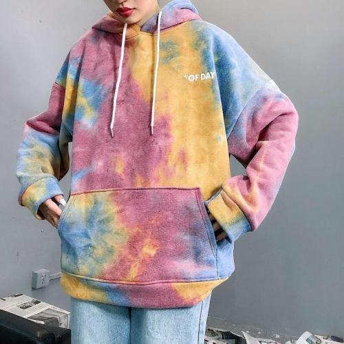 Oversize Tie Dye Hoodie Plus Velvet Hooded Casual Sweatshirt Tops Harajuku Korean Style Pullover