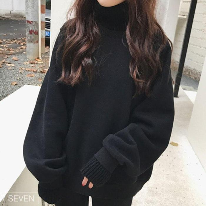 Office Lady Patchwork Knit Casual Fake Two Pieces Sweatshirt Loose Thick Keep Warm Turtleneck Hoodie Plus Velvet