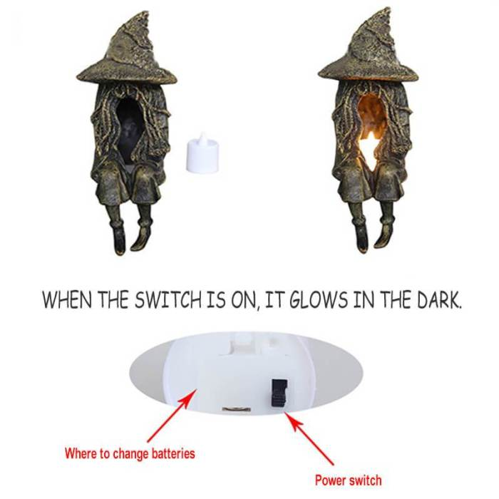 Witch Ghoul Ghost Statue Led Lamp Garden Ornaments For Halloween