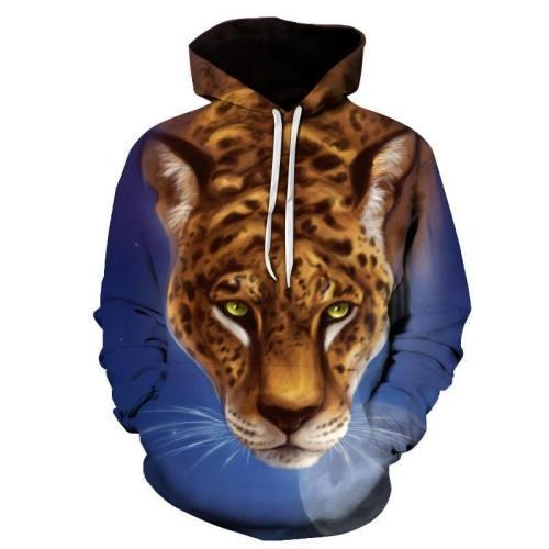 Leopard & Moon 3D Sweatshirt Hoodie Pullover