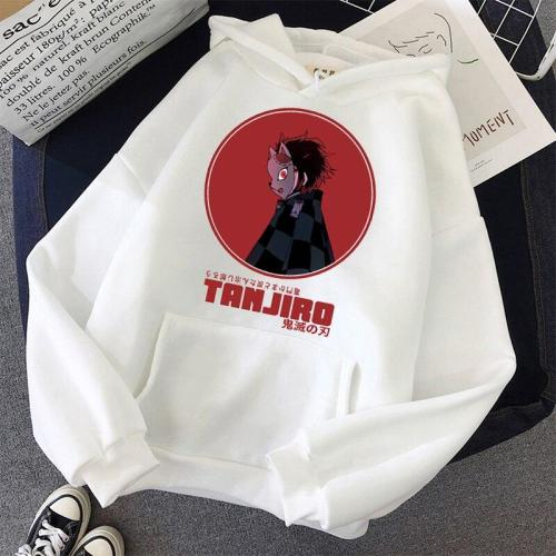 Demon Slayer Anime Tanjiro And Nezuko Pullover Thick Loose Hoodie  Contrast Color Sweatshirt