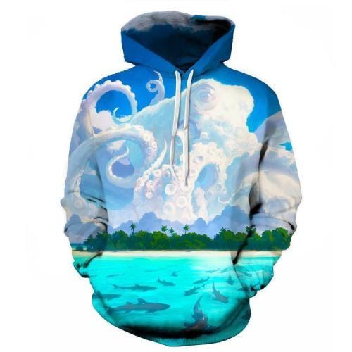 Octopus Beach Clouds 3D Sweatshirt Hoodie Pullover