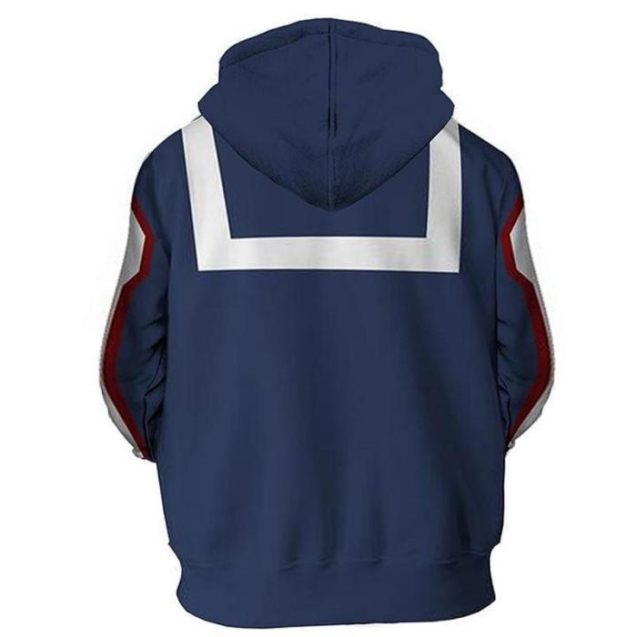 My Hero Academia Anime Izuku Midoriya Blue Cosplay Unisex 3D Printed Hoodie Sweatshirt Pullover