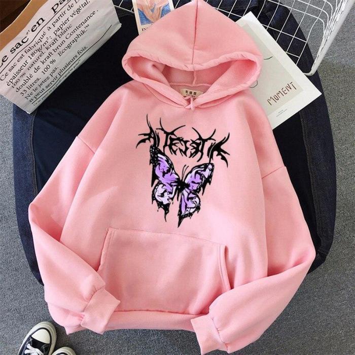 Purple Black Lightning Butterfly Oversize Print Kawaii Sweatshirt Hoodie