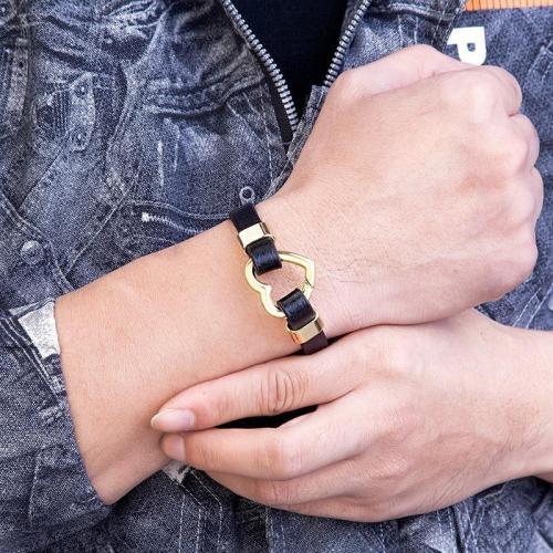 On-Trend Metal Round Charm Leather Bracelet