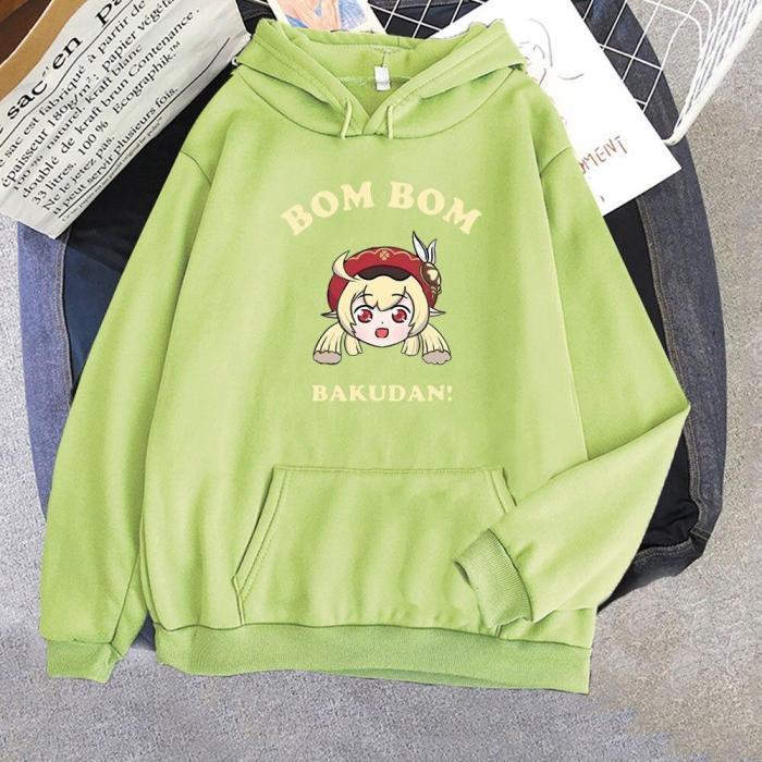 Harajuku Genshin Impact Hoodie Cartoon Letter Print Sweatshirts  Kawaii Klee Funny Korean Style Top