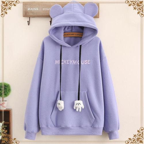 Solid Color Letter Embroidery Hoodie Sweatshirts With Ears Loose Long Sleeve Sweet Girl Pullover