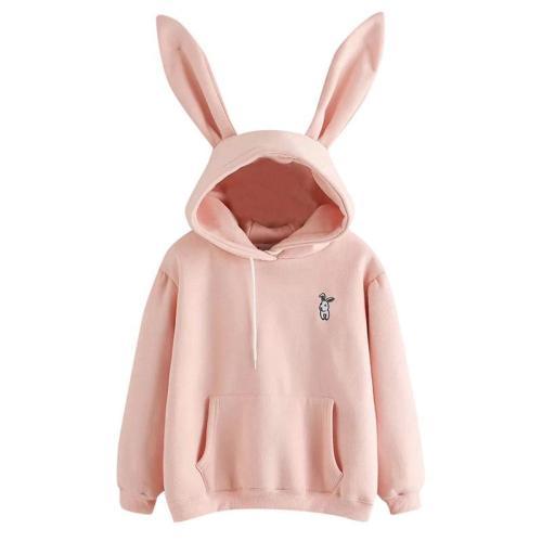Autumn Winter Women Hoodies Kawaii Rabbit Ears Fashion Hoody Casual Solid Color Warm Sweatshirt Hoodies