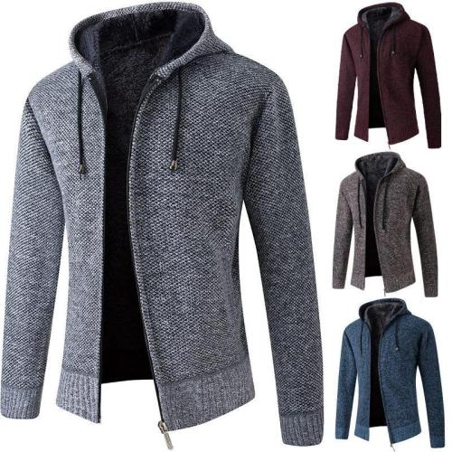 Men Winter Warm Solid Knitted Coat
