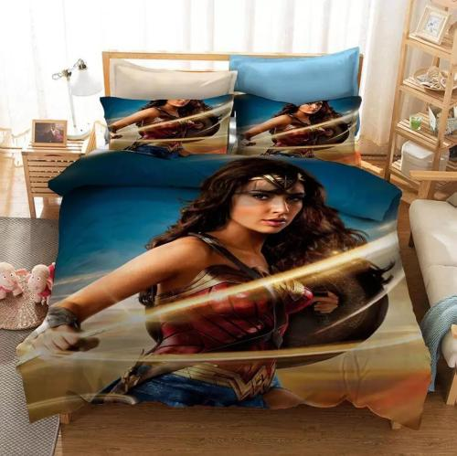 Cosicon Wonder Woman Diana Prince Cosplay Duvet Cover Set Halloween Christmas Quilt Cover