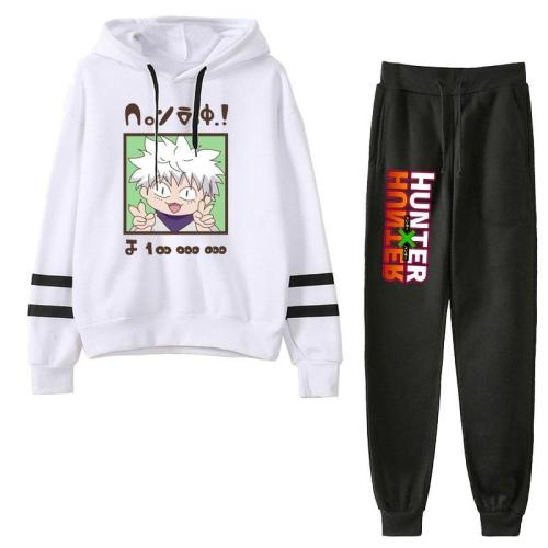 2Pcs/Set Hunter X Hunter Gon Killua Anime Tracksuit Hoodie Hooded Sweatshirt + Pant