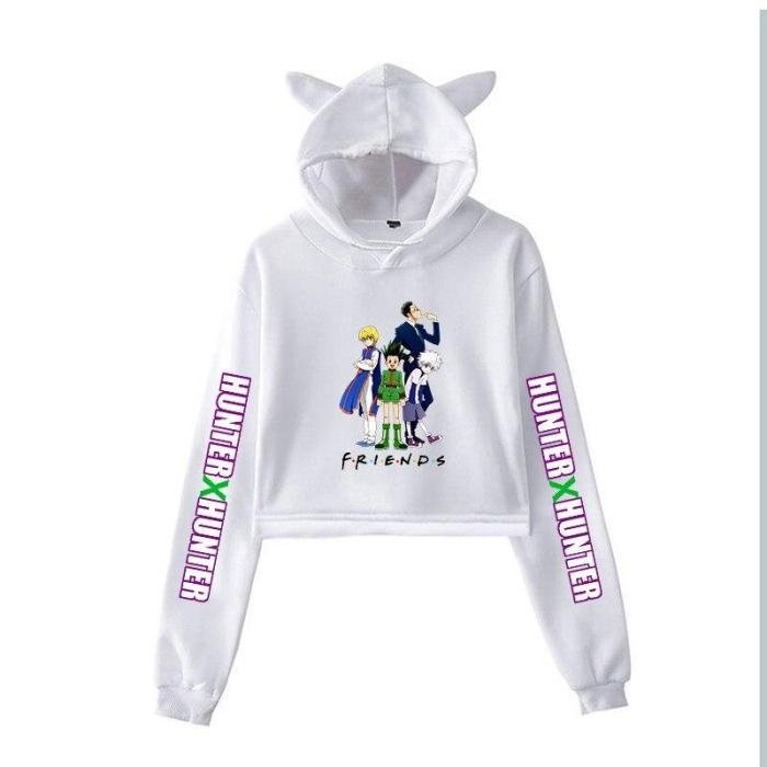 Short Hooded Teens Cropped Long Sleeve Pullover Hunter X Hunter Anime Cropped Hoodie