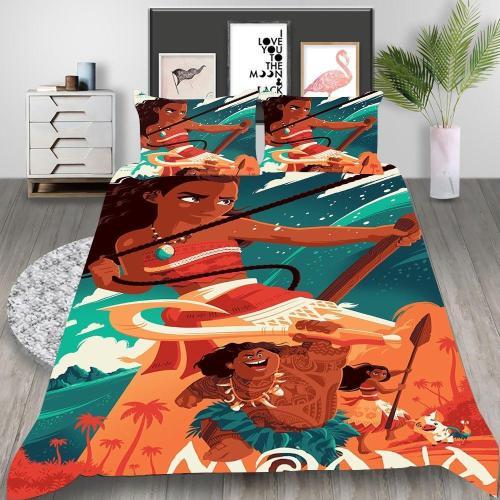 Moana Cosplay Bedding Set Duvet Cover Pillowcases Halloween Home Decor