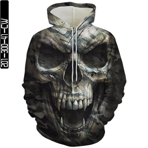 Camouflage Big Skull Man Head Movie Cosplay Unisex 3D Printed Hoodie Sweatshirt Pullover