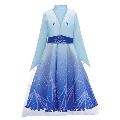 Kids Snow Queen Princess Elsa 2 Dress Halloween Cosplay Costume Outfit
