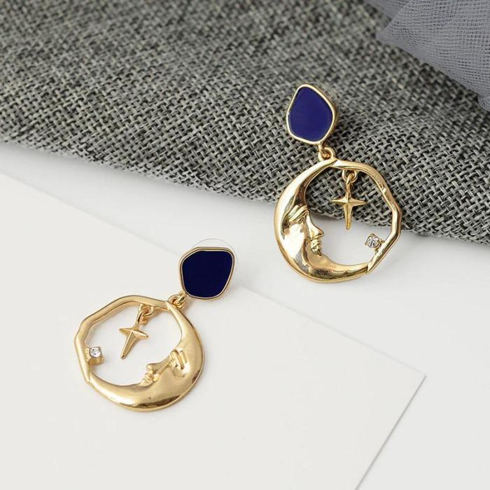 Vintage Round Moon And Star Drop Earrings