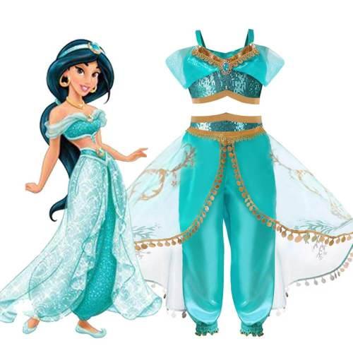 Kids Girls Aladdin'S Lamp Princess Jasmine Dress Party Cosplay Costume