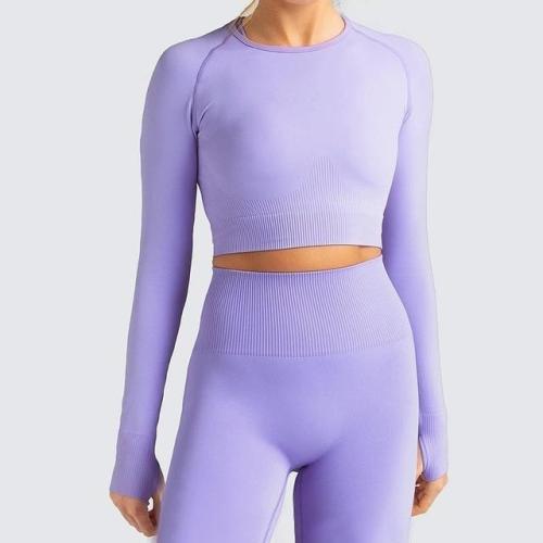 Women Long Sleeve Top Gym Leggings Running Tights Sportswear Yoga Tracksuit