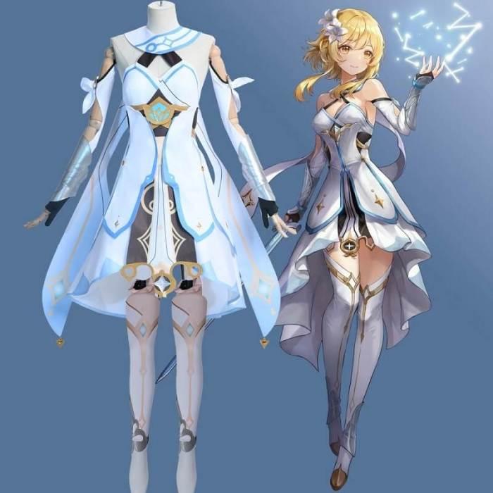 Genshin Impact Traveler Lumine Cosplay Costume Ying White Suit Outfits