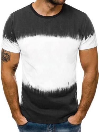 Men'S 3D Gradient Print Round Neck Short Sleeve T-Shirt Fitness