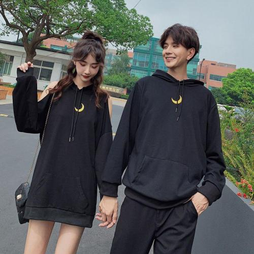 Girlfriend Boyfriend Moon Hoodie Cold Shoulder Sweatshirt Dress