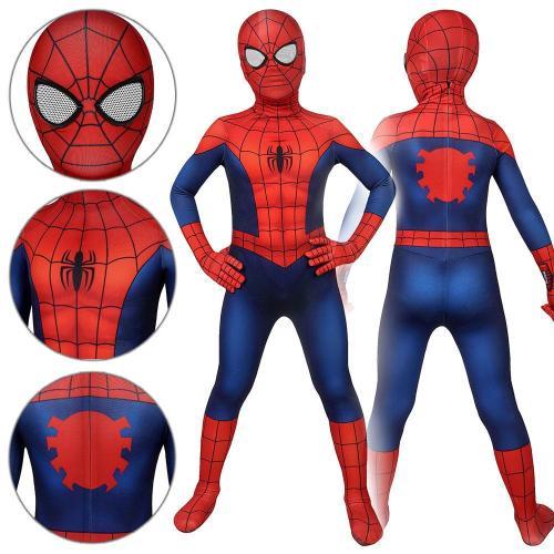 Kids Spider-Man Peter Parker Ultimate Spider-Man Season1 Jumpsuit Cosplay Costume -