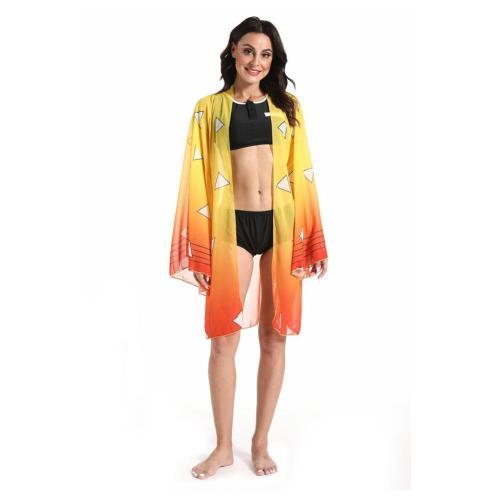 Anime Demon Slayer Kimetsu No Yaiba Agatsuma Zenitsu Bikini Beach Swimsuit Set Cosplay Costume