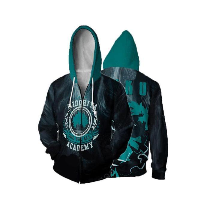 My Hero Academia Anime Midoriya Deku One For All Cosplay Unisex 3D Printed Mha Hoodie Sweatshirt Jacket With Zipper