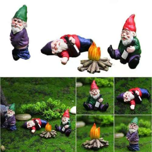 Garden Drunk Santa Claus Gnomes Miniature Ornaments Statues Set Decor