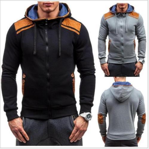 Men Slim Patchwork Cardigan Zipper Sweatershirt