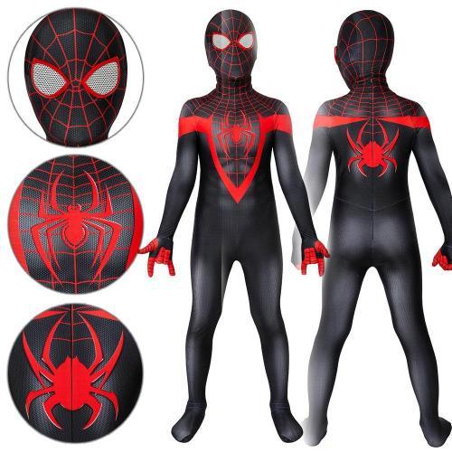 Kids Spider-Man Miles Morales Ultimate Spider-Man Miles Morales Jumpsuit Cosplay Costume -