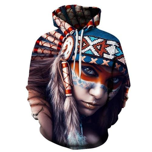 Blue, Red And White Native American Girl 3D Hoodie - Native American Clothing