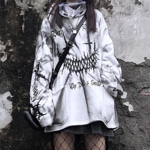 Harajuku Funny Printed Tops White Japan Kpop Hoodie Casual High Street Sweatshirts