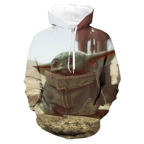 Unisex The Mandalorian Baby Yoda Hoodies Printed Pullover Jacket Sweatshirt