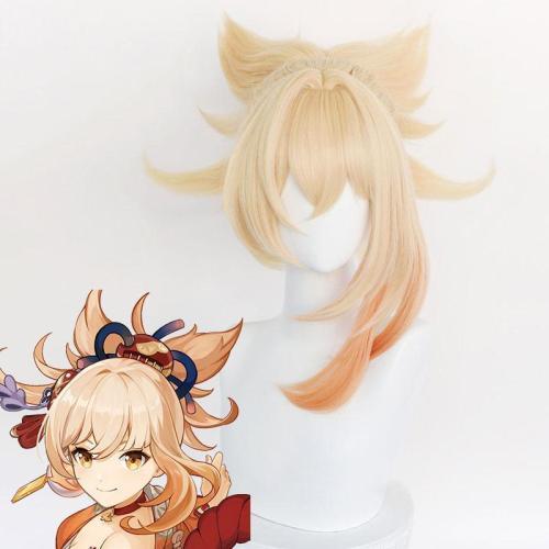 Genshin Impact Yoimiya Golden Orange Cosplay Wig