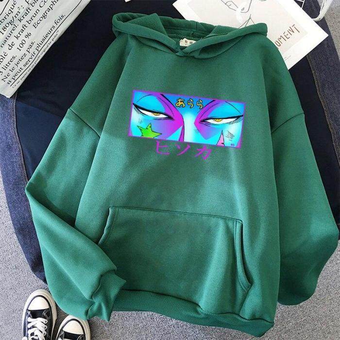 Japan Hisoka Morow Eyes Printed Hoodie Oversize Anime Hoodie Hip Hop Harajuku Full Sweatshirt