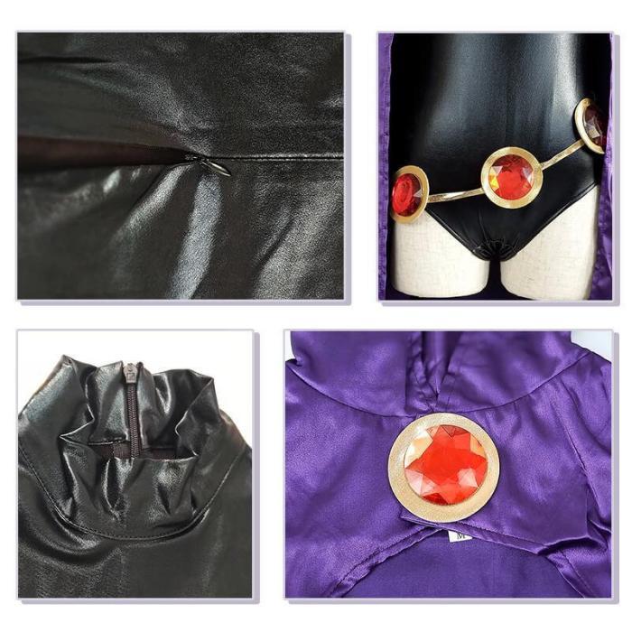 Superhero Teen Titans Raven Zentai Jumpsuit With Cloak Cosplay Costume