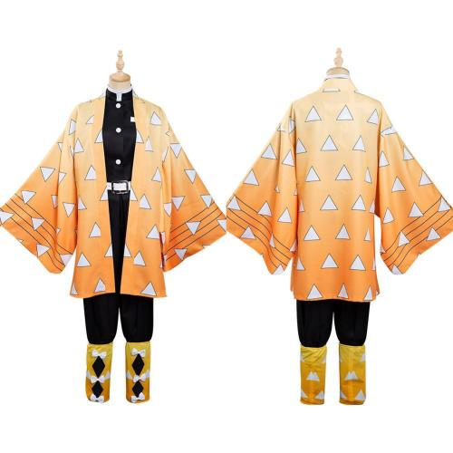 Anime Demon Slayer Agatsuma Zenitsu Kimono Outfits Halloween Carnival Suit Cosplay Costume