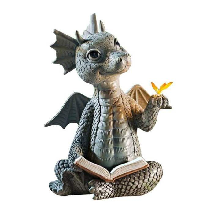 Little Dragon With Butterfly Craft Garden Statue Halloween Decorations