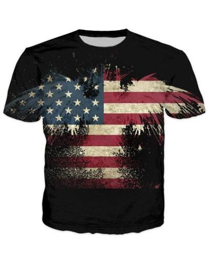 Abstract Eagle Usa Flag T-Shirt V1