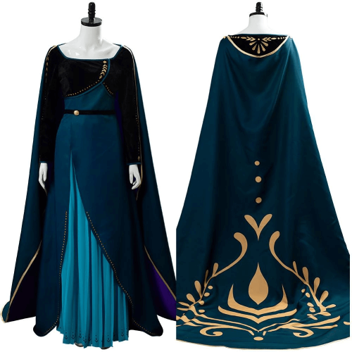 Frozen 2 Queen Anna Coronation Long Gown Cape Dress Cosplay Costumes