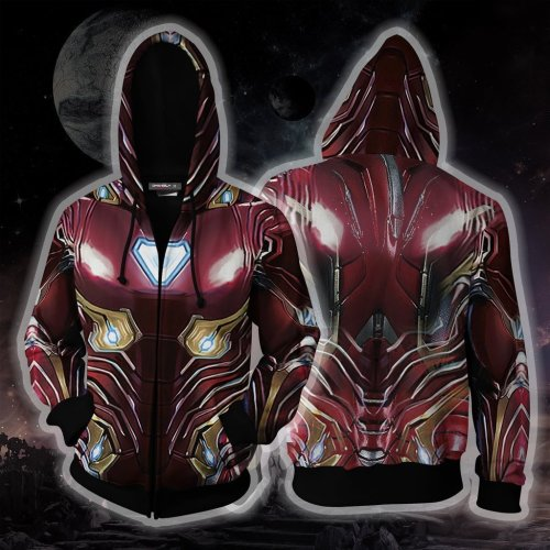 Avengers Movie Iron Man Style 8 Cosplay Unisex 3D Printed Hoodie Sweatshirt Jacket With Zipper