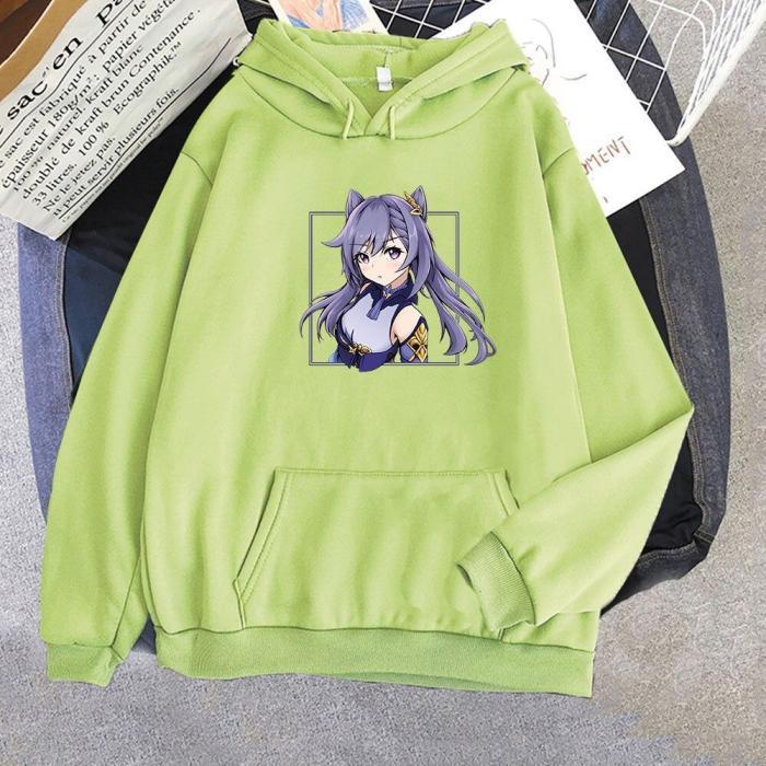 Keqing Hoodie Genshin Impact Oversize Sweatshirt Kawaii Aesthetic Printed Pullovers Korean Top
