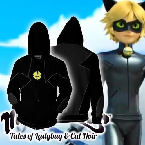 Miraculous Tales Of Ladybug Cat Anime Noir Adrien Agreste Cat Noir Cosplay Unisex 3D Printed Hoodie Sweatshirt Jacket With Zipper
