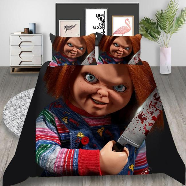 Child'S Play Cosplay Bedding Set Duvet Cover Pillowcases Halloween Home Decor